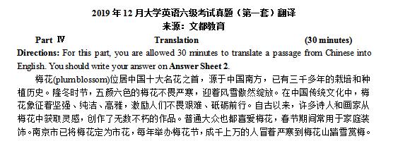 2019年12月大学英语六级翻译真题汇总