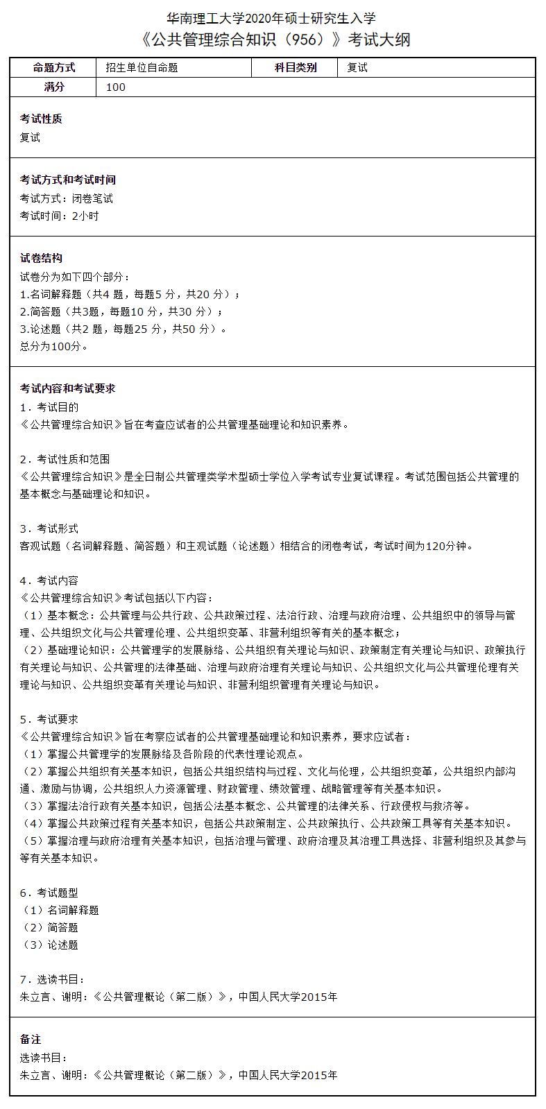 华南理工大学公共管理综合知识2020考研复试大纲