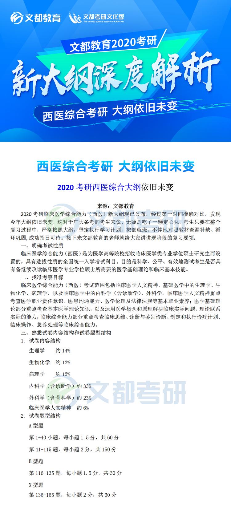 2020考研:西医综合考研大纲