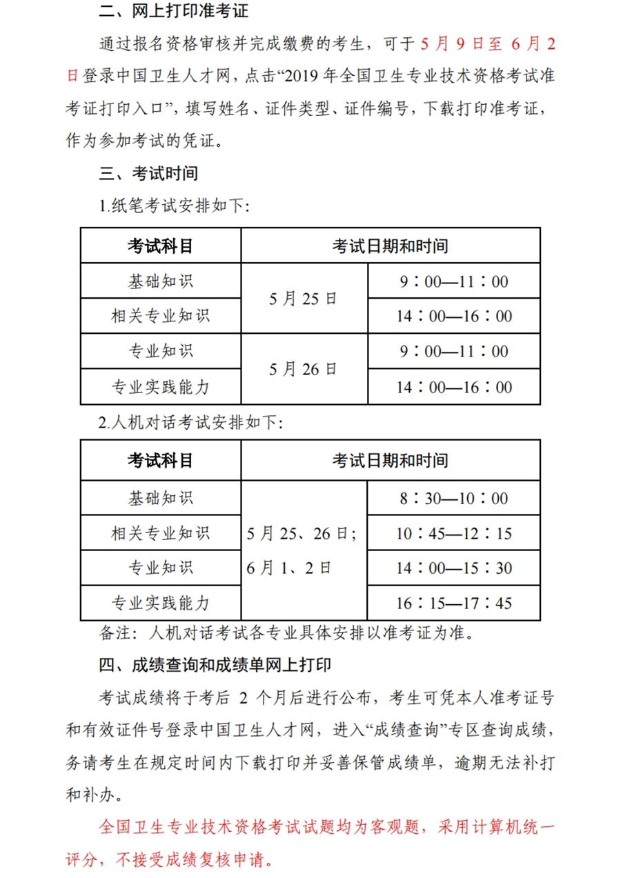 【官网】2019年度卫生专业技术资格考试考生须知