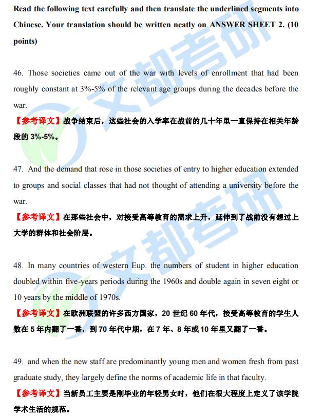 2021 考研英语(一)翻译真题及答案