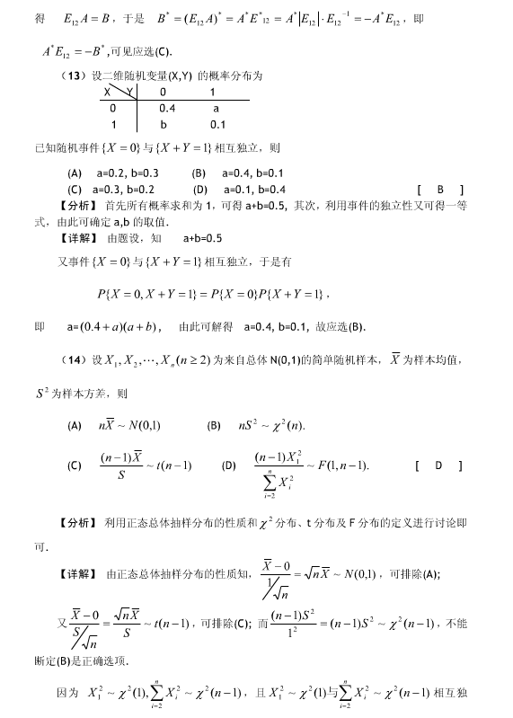 历年考研数学真题下载:2005年考研数学一真题答案