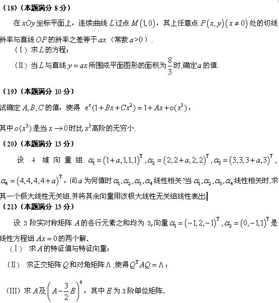 历年考研数学真题下载:2006年考研数学四真题