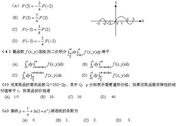 历年考研数学真题下载:2007年考研数学三真题