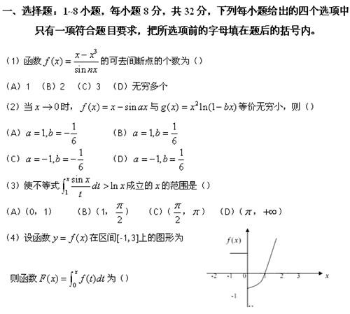 历年考研数学真题下载:2009年考研数学三真题