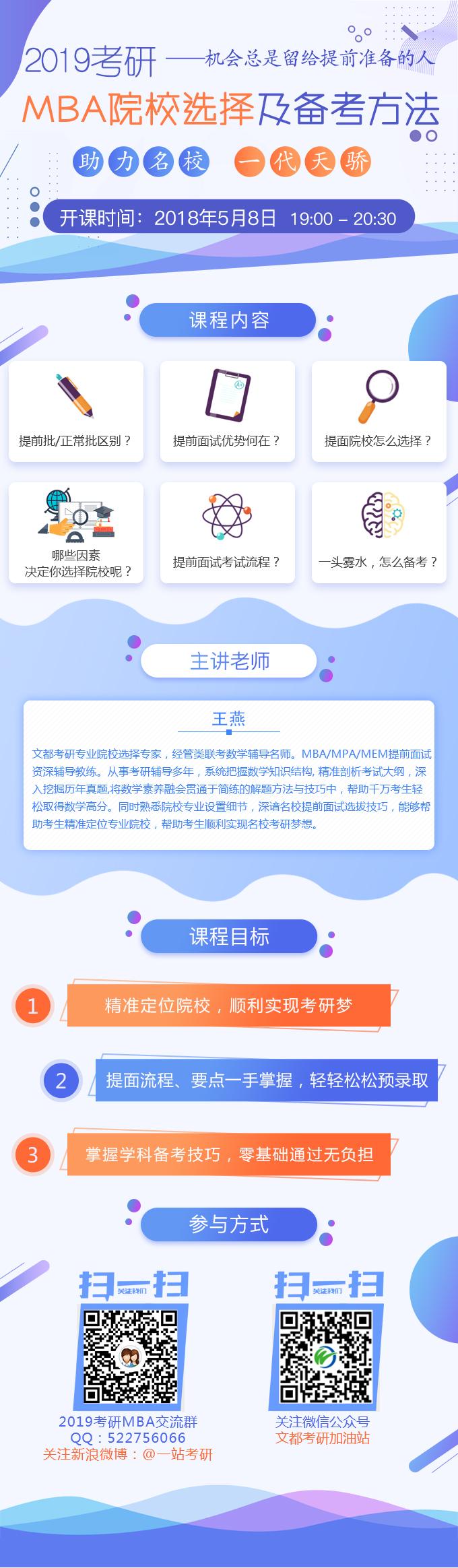 【直播】文都名师2019考研MBA院校选择及备考方法