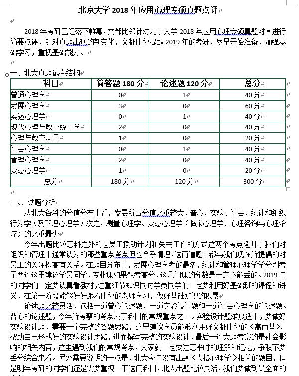 北京大学2018年心理学考研应用心理专硕真题点评