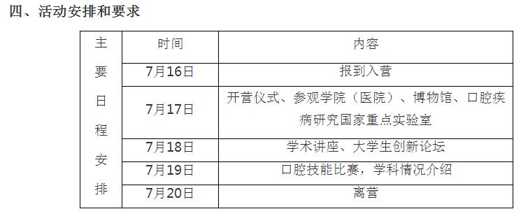 四川大学口腔医学院2019保研夏令营通知