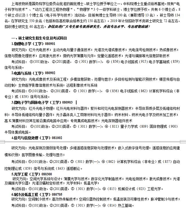 中科院上海物理研究所2019硕士研究生招生简章