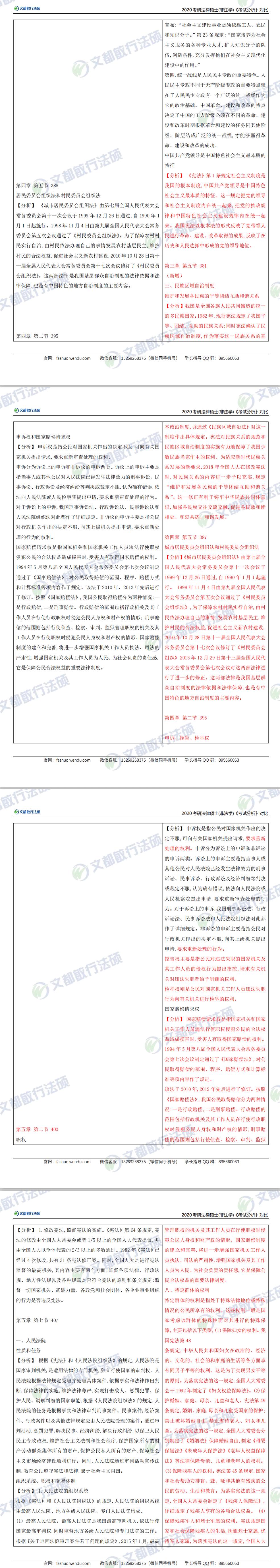 2020法硕(非法学)考研大纲考试分析对比表【综合课】(文都敏行法硕)