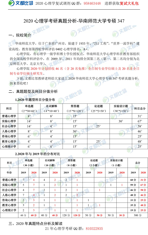 2020华南师范大学心理学347真题解析