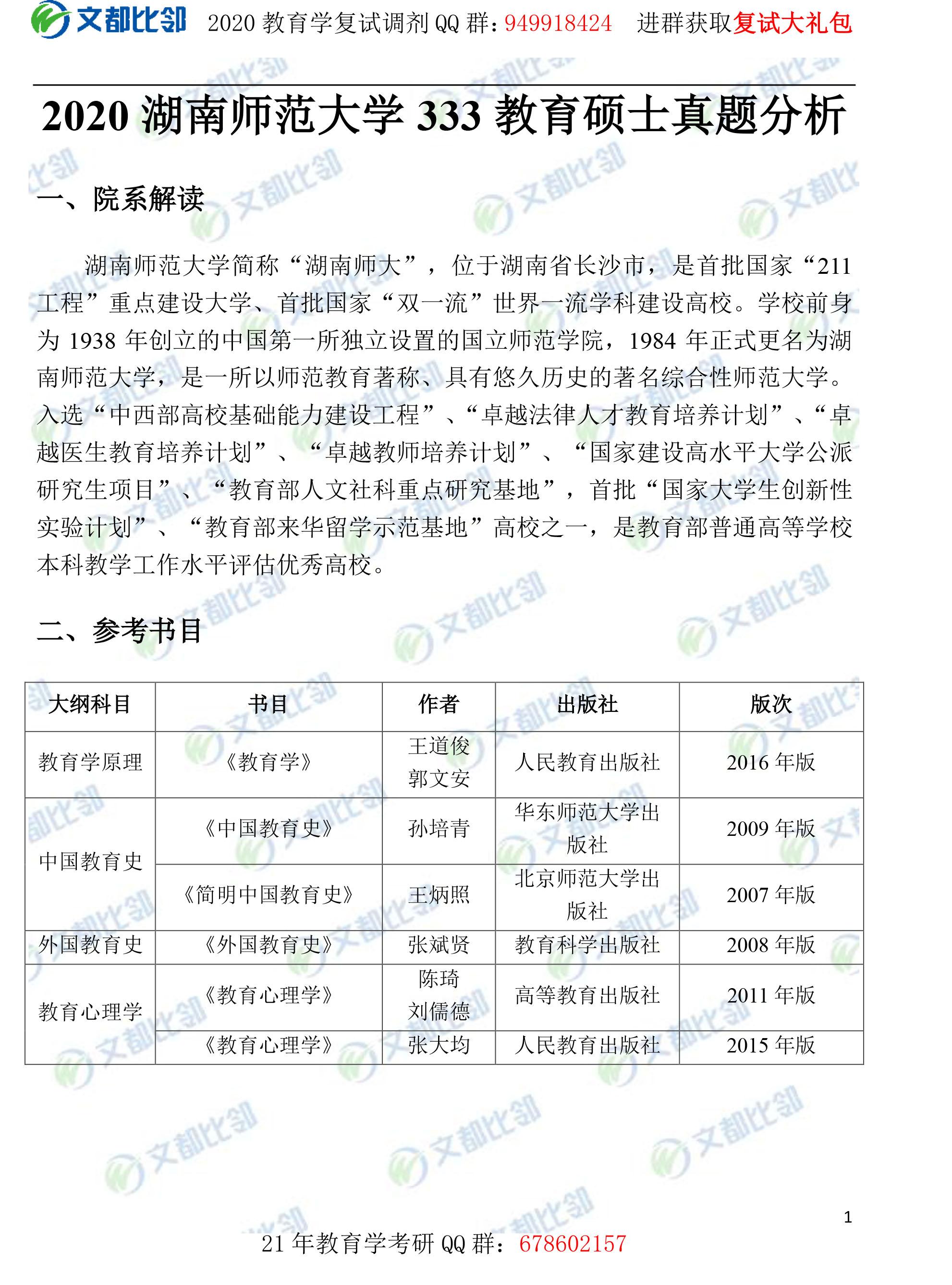 2020年湖南师范大学教育硕士333真题分析
