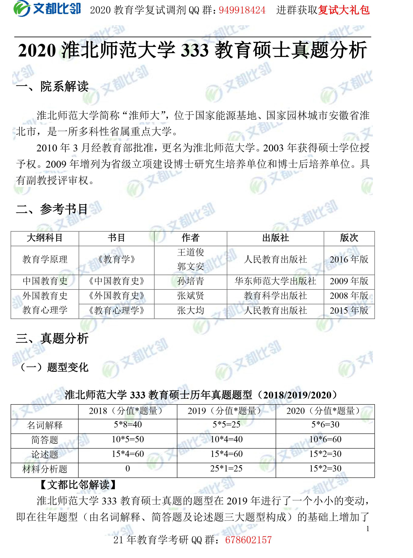 2020年淮北师范大学教育硕士333真题分析