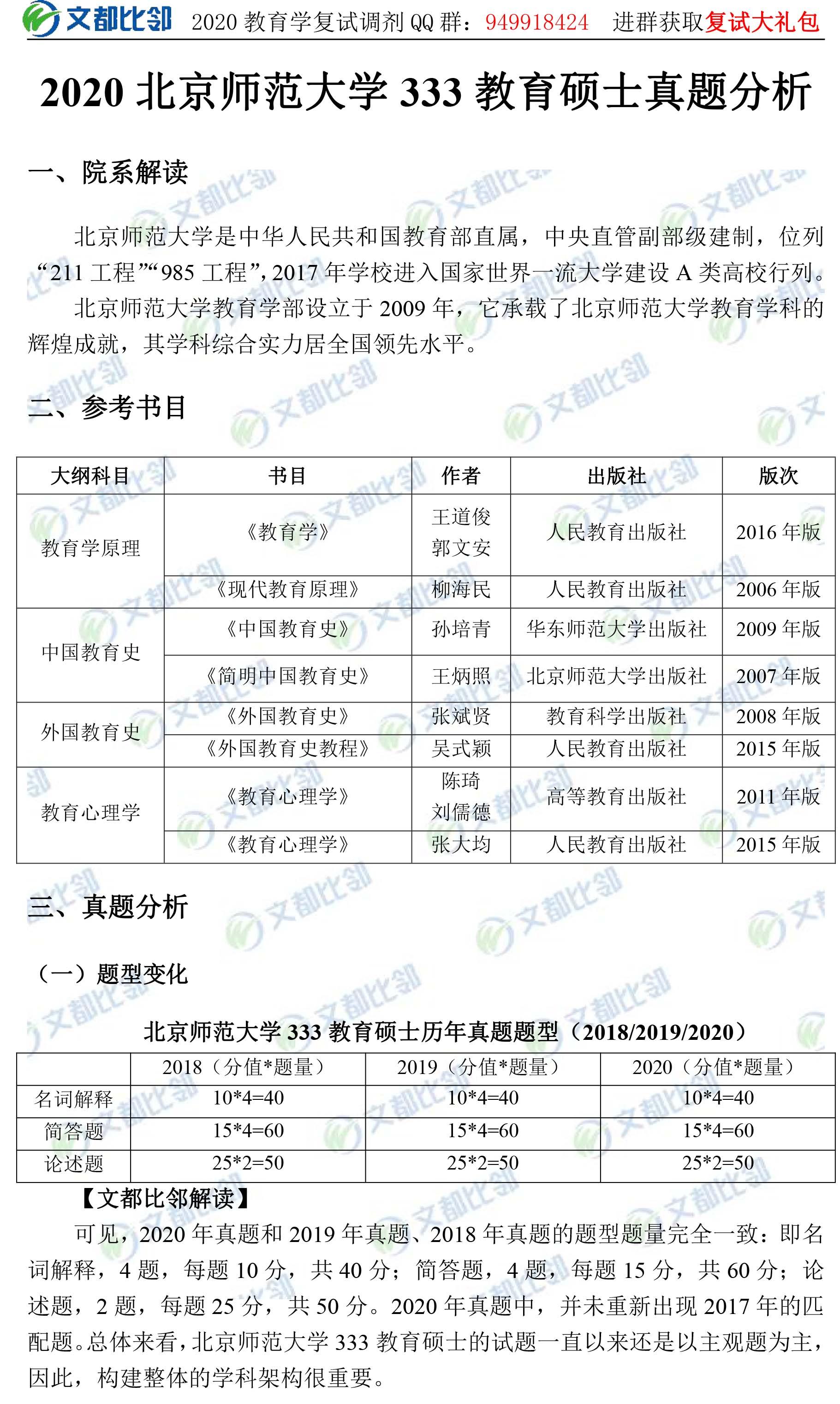 2020年北京师范大学教育硕士333真题分析