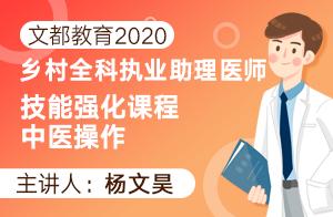 文都教育2020乡村全科执业助理医师技能强化课程中医操作