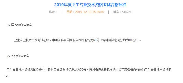 黑龙江2019年卫生资格考试省内分数线