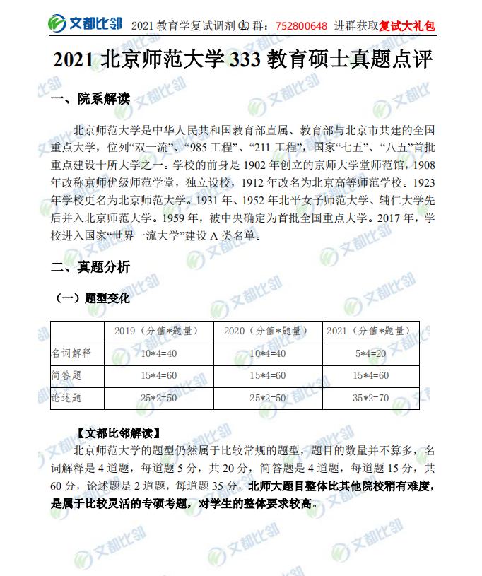2021年北京师范大学333考研真题 教育硕士333考研真题 北京师范大学333考研真题点评